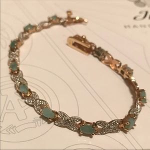 Genuine Emerald Vermeil Tennis Bracelet